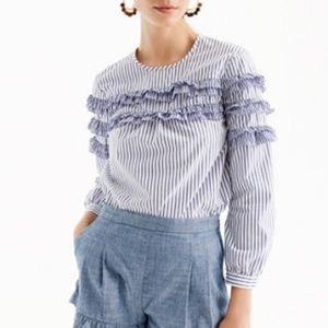 J. Crew Tiered Top in Mixed Stripe